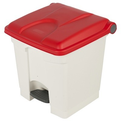 755425: Pedaalemmer Color - 30 l - WIT - deksel ROOD