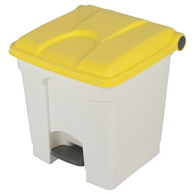 755426: Pedaalemmer Color - 30 l - WIT - deksel GEEL