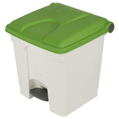 755427: Pedaalemmer Color - 30 l - WIT - deksel GROEN