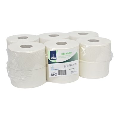 773311: Mini Jumbo toiletpapier - recycled tissue - 2 laags - 180 m - WIT - 12 rollen